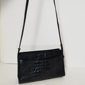 BRAHMIN Small Croc Pattern Black Leather Purse